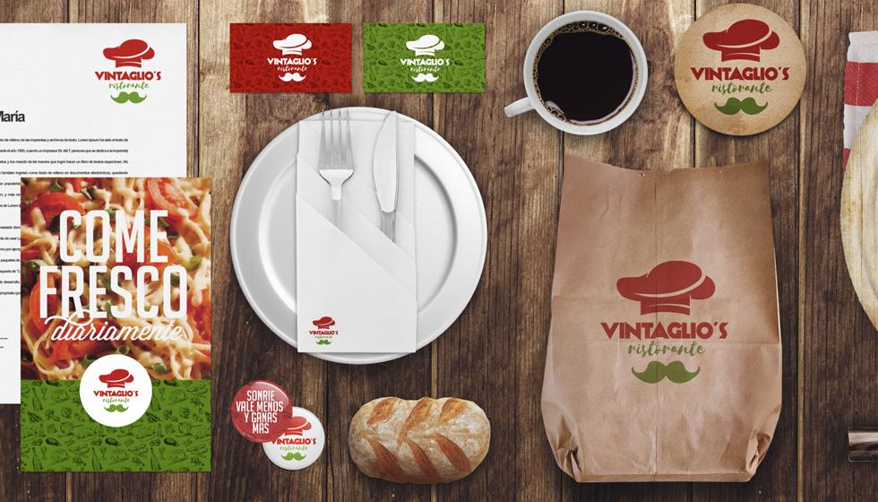 Diseño de marca VIntaglio restaurante italiano con productos ecológicos